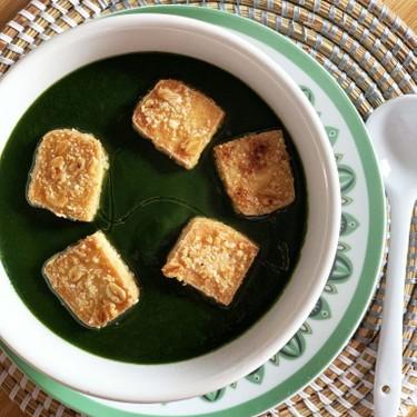 Black Garlic Spinach Soup with Crispy Tofu Recipe | SideChef