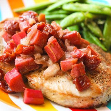 Pork Chops with Rhubarb-Cherry Sauce Recipe   SideChef