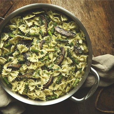 Portobello and Asparagus Farfalle with Basil Pesto Recipe   SideChef