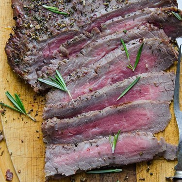 Herb and Peppercorn Crusted Flank Steak Recipe | SideChef
