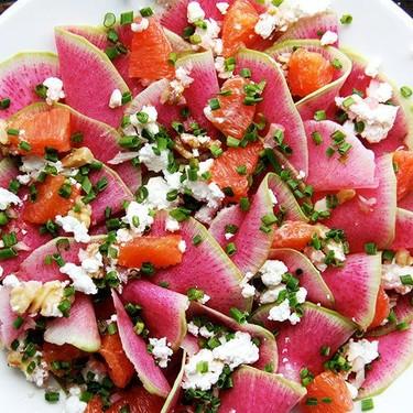 Watermelon Radish, Orange and Goat Cheese Salad Recipe | SideChef