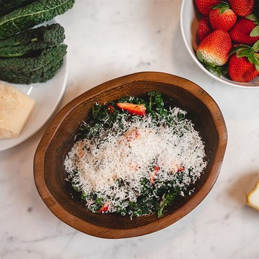 Kale and Strawberry Salad with Parmesan Recipe | SideChef