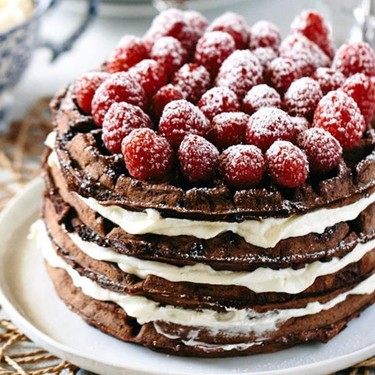 Dark Chocolate Waffle Cake with Mascarpone Cream Recipe | SideChef