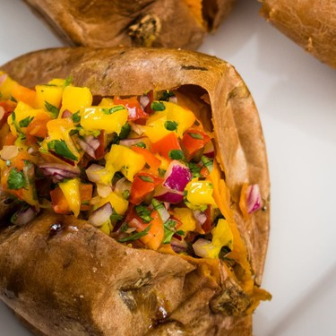 Jamaican Sweet Potato with Mango Salsa Recipe | SideChef