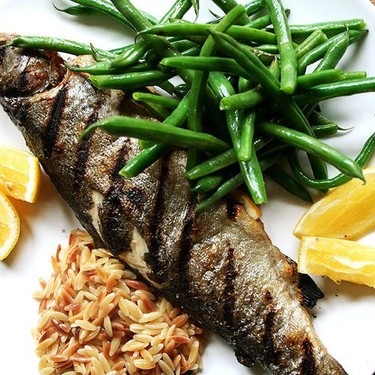 Whole-Grilled Trout with Green Beans and Orzo Recipe | SideChef