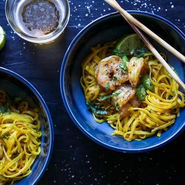 Turmeric Noodle Bowls with Ginger Garlic Shrimp Recipe   SideChef