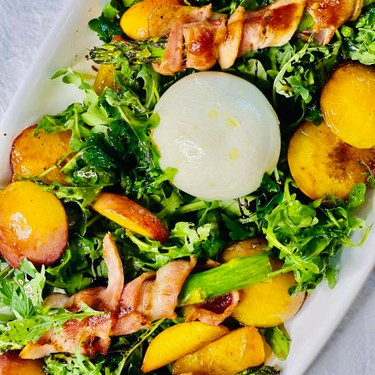 Grilled Peach and Burrata Salad with Bacon Wrapped Asparagus Recipe | SideChef