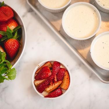 Bay Leaf Panna Cotta with Balsamic Black Pepper Strawberries Recipe   SideChef