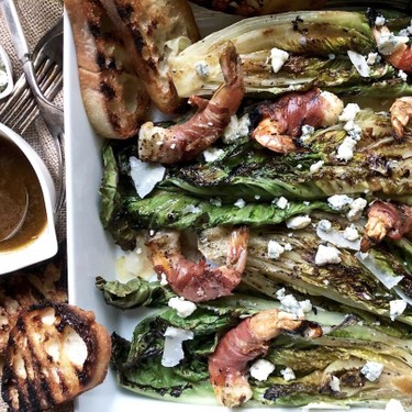 Grilled Romaine Salad with Prosciutto-Wrapped Shrimp Recipe   SideChef