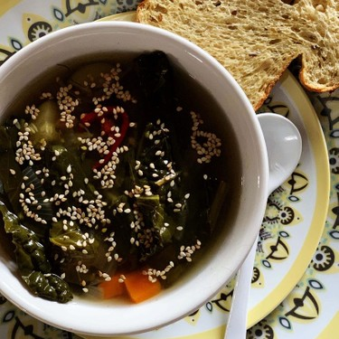 Miso Soup with Kale and Black Garlic Recipe   SideChef