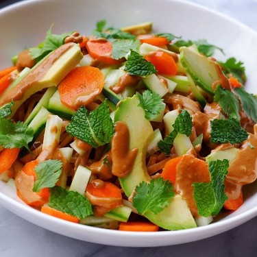 Ginger Peanut CBD Noodles with Crunchy Vegetables and Fresh Herbs Recipe   SideChef