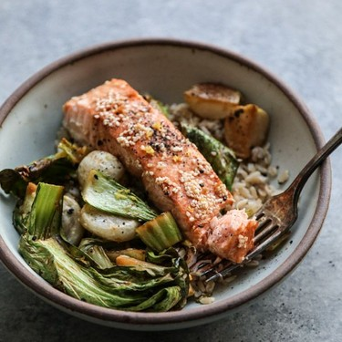 Sesame Sheet Pan Salmon with Roasted Bok Choy and Baby Turnips Recipe | SideChef