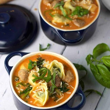 Tuscan Tomato Tortellini Soup with Italian Sausage and Greens Recipe   SideChef