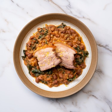 Steam Roasted Pork Belly with Smoky Beans Recipe | SideChef