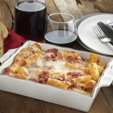 Pasta with Ham and Pork Chorizo with Garlic Bread Recipe | SideChef