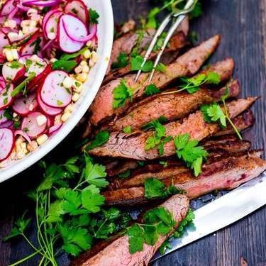 Grilled Flank Steak with Sweet Corn & Radish Salad Recipe | SideChef
