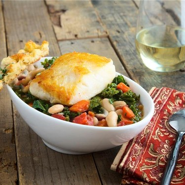 Chilean Sea Bass with White Bean and Kale Stew Recipe | SideChef