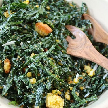 Kale Caesar with Roasted Corn and Cornbread Croutons Recipe | SideChef