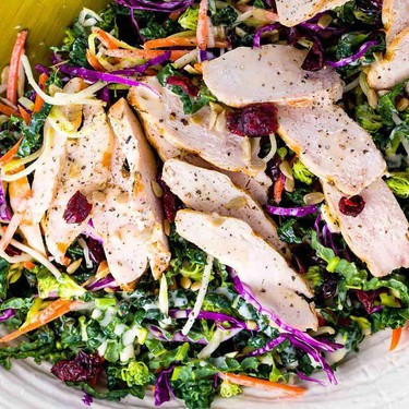Kale and Broccoli Slaw Salad with Chicken Recipe | SideChef