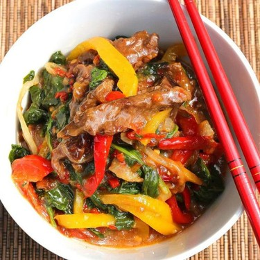 Stir Fried Beef and Spinach in Cherry Peppers Sauce Recipe   SideChef