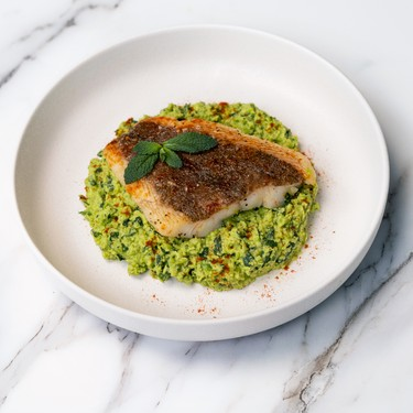 Pan Seared Halibut with Pea Purée Recipe   SideChef