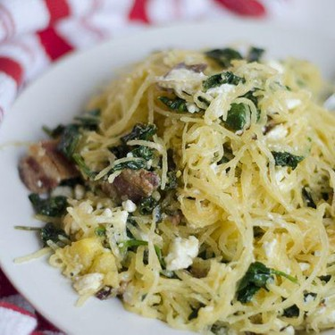 Spaghetti Squash with Bacon, Spinach, and Goat Cheese Recipe   SideChef
