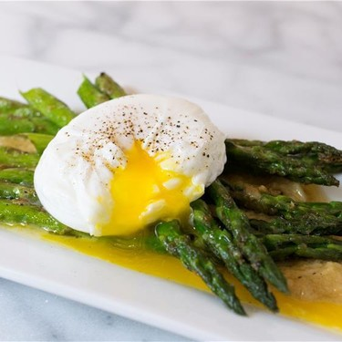 Asparagus, Poached Egg, Roasted Garlic Miso Butter Recipe   SideChef