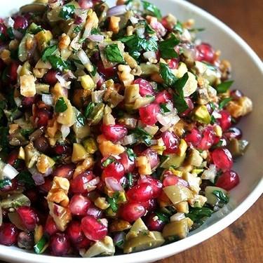 Green Olive, Walnut & Pomegranate Salad Recipe | SideChef