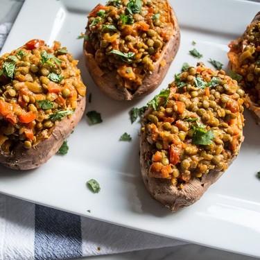 Vegan Lentil Curry Stuffed Sweet Potatoes Recipe   SideChef