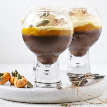Dark Chocolate Cinnamon Oat Pudding with Pumpkin Mascarpone Mousse Recipe   SideChef
