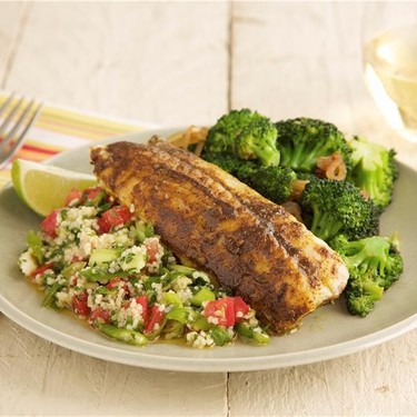 North African Spiced Cod with Herbed Couscous Recipe | SideChef