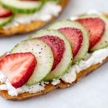 Strawberry Cucumber and Goat Cheese Layered Toastie Recipe   SideChef