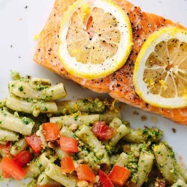Roasted Lemon Salmon Fillets with Pesto Pasta Recipe | SideChef