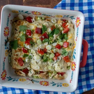 Verde Sour Cream Chicken Enchiladas Recipe   SideChef