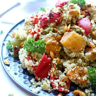 Roasted Butternut Cous Cous Salad with Pesto Dressing Recipe | SideChef