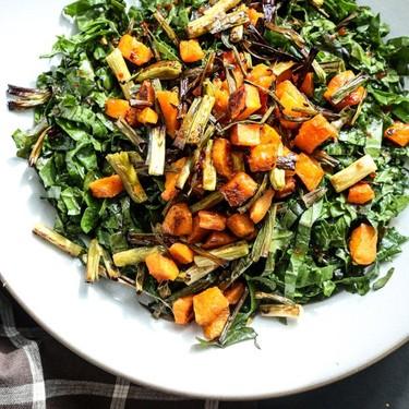 Massaged Kale Salad with Roasted Butternut Squash, Crispy Scallions and Sweet Chili Dressing Recipe   SideChef