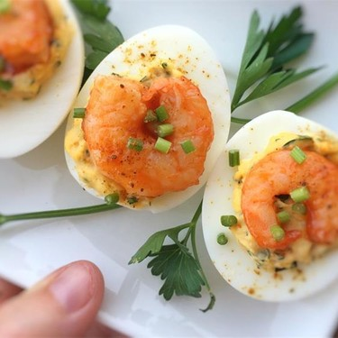 Buffalo Shrimp Deviled Eggs Recipe | SideChef