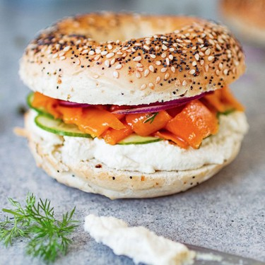 "Vegan ""Salmon"" Lox and Cream Cheese Bagel Recipe | SideChef"
