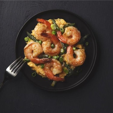 Shrimp and Asparagus with Parmesan Grits Recipe | SideChef