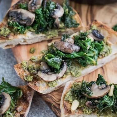 Pesto Toast with Kale and Mushrooms Recipe   SideChef