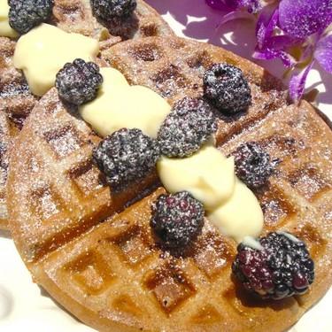 Blackberry Waffles with Vanilla Cream Recipe | SideChef