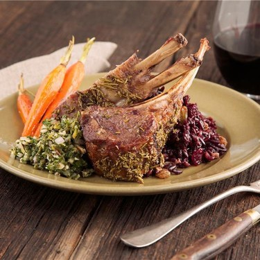 Lamb Chops with Salsa Verde and Dried Fruit Pilaf Recipe   SideChef