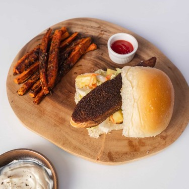 Jerk Salmon Sandwich with Charred Pineapple Slaw and Carrot Fries Recipe   SideChef