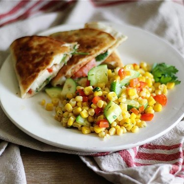 Paprika Chicken Quesadillas & Sweet Corn Stirfry Recipe | SideChef