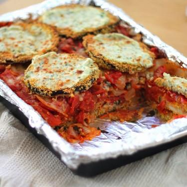 Cornmeal Crusted Eggplant & Roasted Tomato Lasagna Recipe | SideChef