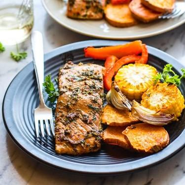 Easy Sheet Pan Jerk Salmon with Veggies Recipe | SideChef