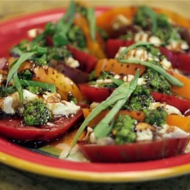 Heirloom Tomato Caprese Salad with Homemade Pesto Recipe   SideChef