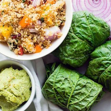 Quinoa Salad Collard Wraps with Edamame Pesto Recipe | SideChef