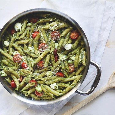 Penne Pesto with Cherry Tomatoes and Mozzarella Recipe   SideChef