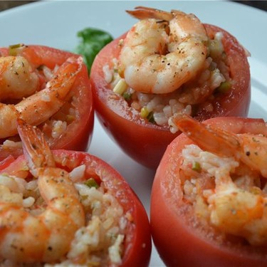 Tomatoes Stuffed with Rice and Shrimp Recipe | SideChef